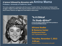 "Amina Mama: ""Is It Ethical To Study Africa?"""